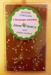 Zelená země Mliečna čokoláda s konopným semiačkom 100g ručne vyrobená Zelená Země s.r.o.