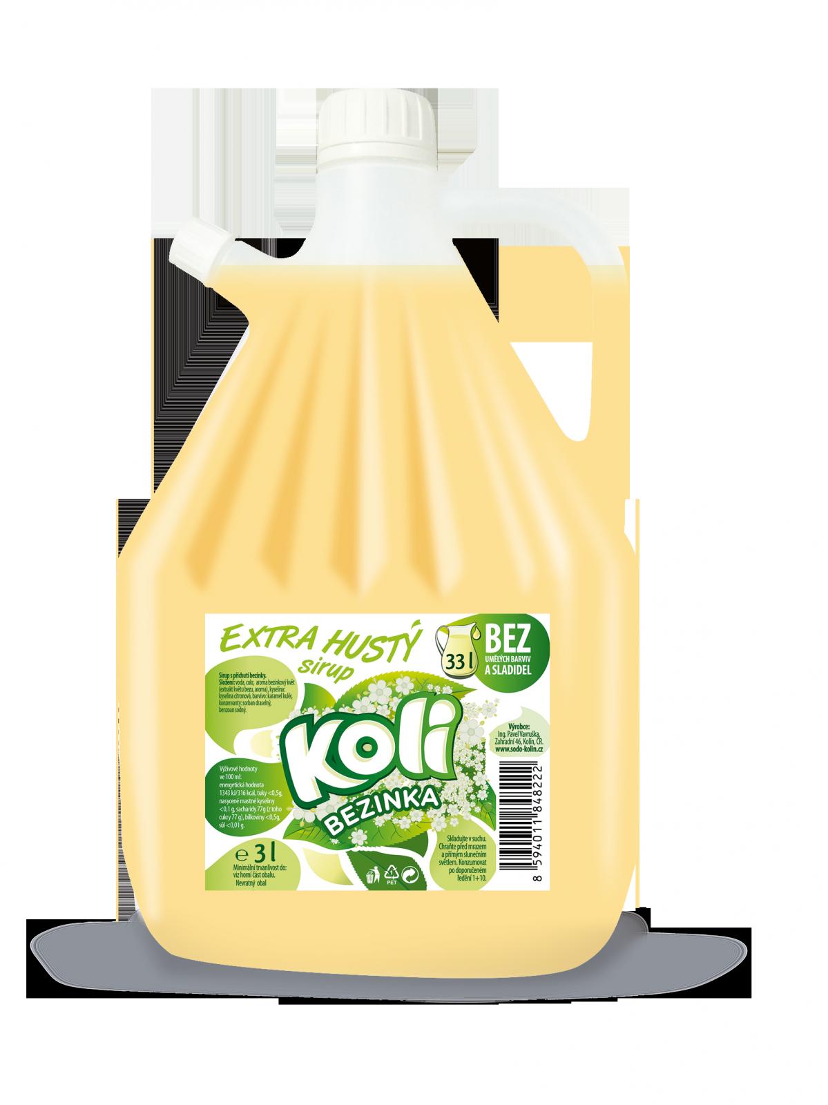 Koli sirup EXTRA hustý 3lt bezinka - osviežujúca limonáda s príchuťou bezinky. Sodovkárna Kolín