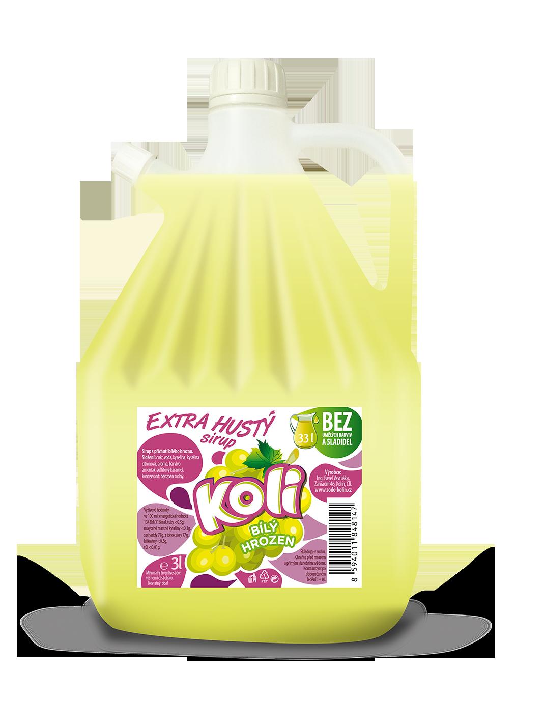 Koli sirup EXTRA hustý 3lt biele hrozno. Osvěžující limonáda s příchutí bílých hroznů. Sodovkárna Kolín