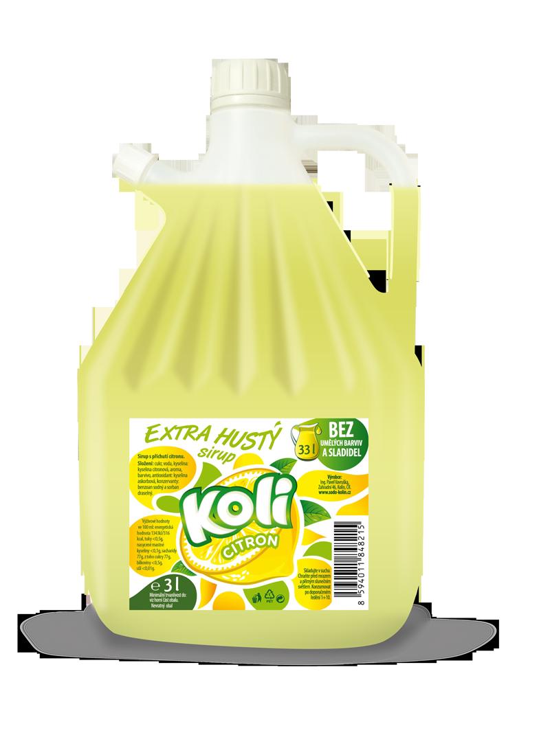 Koli sirup EXTRA hustý 3lt citrón - osviežujúca limonáda s príchuťou citrónu. Sodovkárna Kolín