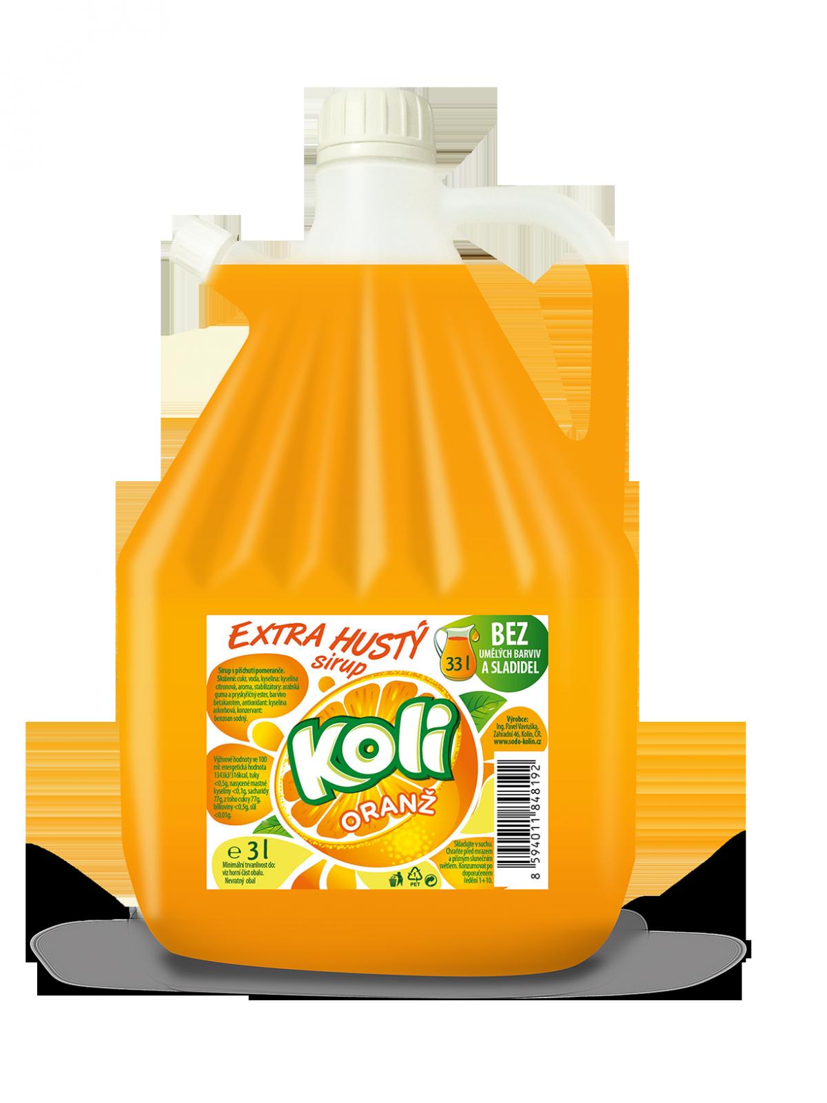 Koli sirup EXTRA hustý 3lt pomaranč - limonáda s osviežujúcou ovocnou chuťou. Sodovkárna Kolín