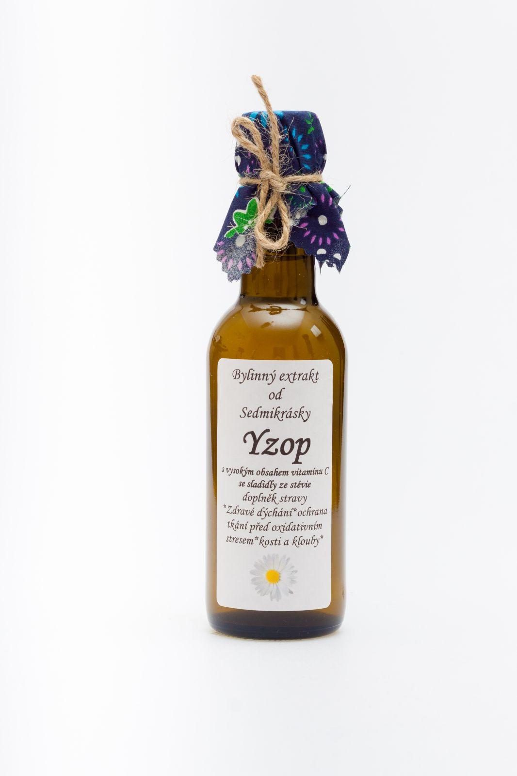 Sedmikráska bylinný extrakt Yzop s anýzem 250ml zdravé dýchanie, ochrana tkanív pred oxidatívnym stresom, kosti a kĺby, vitalita, trávenie, nadúvanie Rodinná farma Sedmikráska