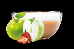 Ovocňák - Pyré jablko+jahoda 120 ml 80% jablečné pyré, 20% jahodové pyré