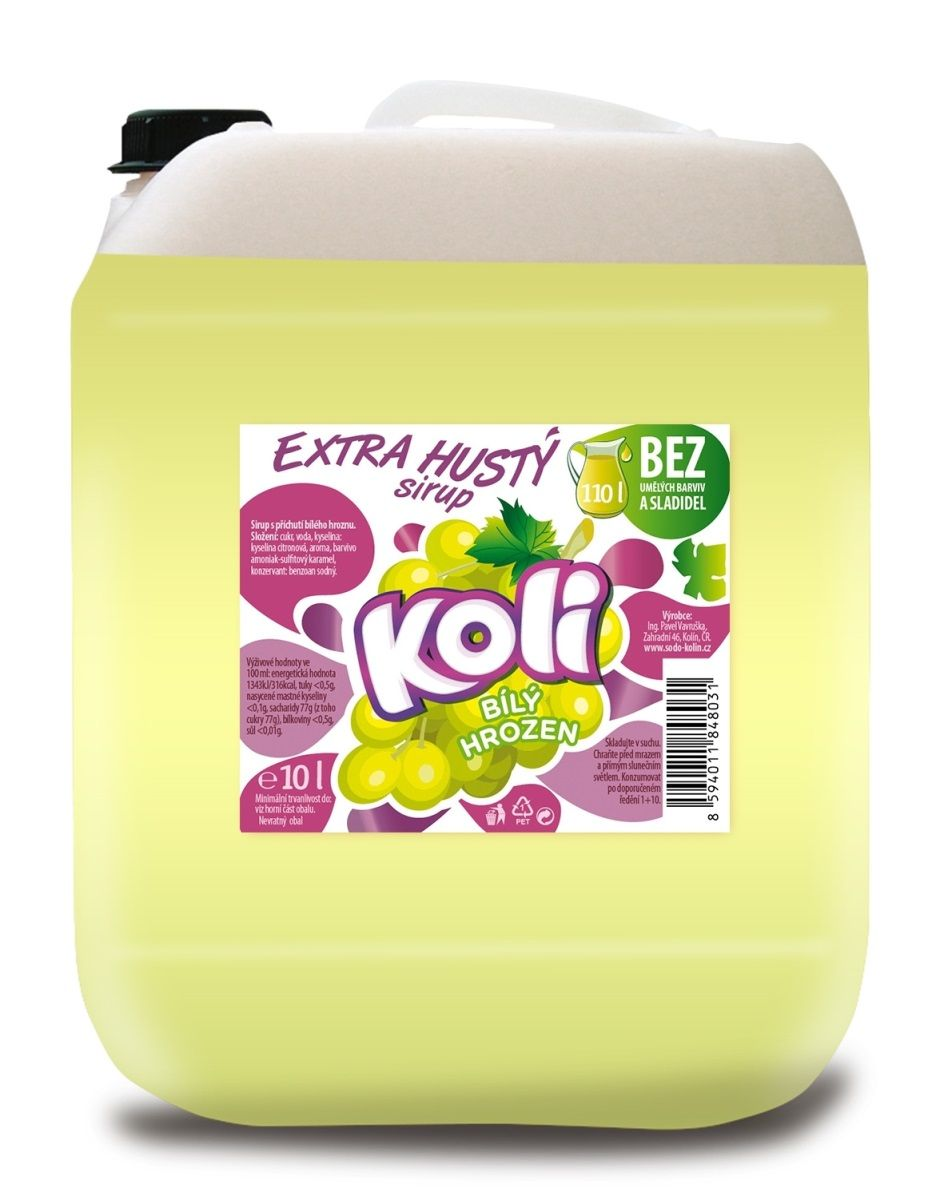 Koli sirup EXTRA hustý 10lt biele hrozno Osvěžující limonáda s příchutí bielých hroznů. Sodovkárna Kolín