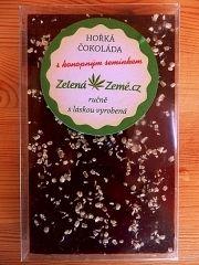 Hořká pravá belgická čokoláda sypaná konopným semínkem a se 70% podílem kakaové hmoty. 100g BEZ CUKRU Zelená Země s.r.o.