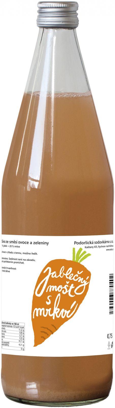 Podorlická sodovkárna mošt 80 % jablko 20 % mrkev 0,75 l - Nejpopulárnější zelenina českých kuchyní podporuje regeneraci. Tento mošt je velmi oblíbený u dětí. Podorlická sodovkárna Rychnov n/ Kněžnou