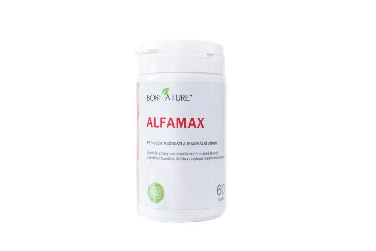 Bornature - ALFAMAX 60KAPSLÍ Pro pocit mužnosti a maximální výkon, doplněk stravy pro povzbuzení mužské fyzické a duševní kondice, libida a zvýšení hladiny testosteronu doplněk stravy