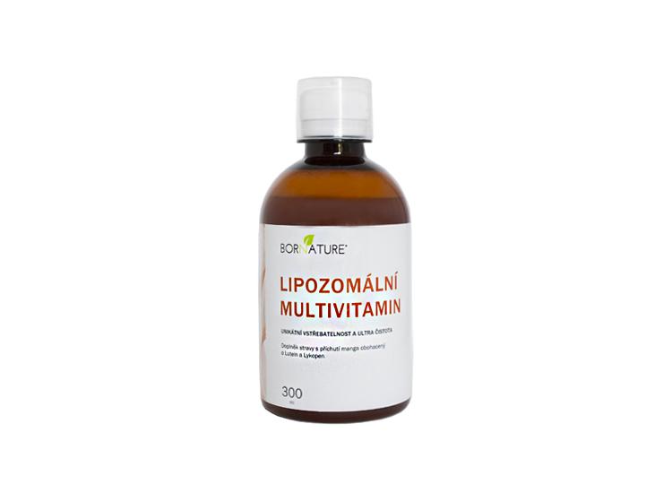 Bornature LIPOZOMÁLNY MULTIVITAMÍN 300ml je vyrobený lipozomálnou technológiou a je vyvážený tak, aby obsahoval zložky, ktoré chýbajú, ako je vit. C, D, A rada vitamínu B obohatený o luteín (pre oči) a lykopen (na kožu).