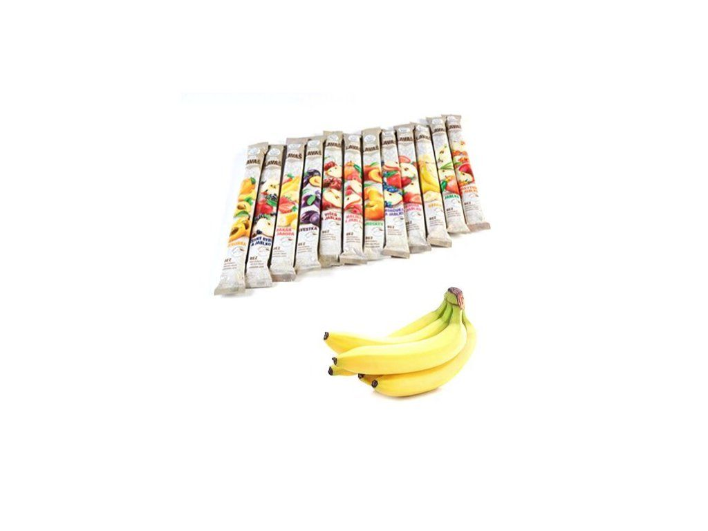 Nara-natur BANÁN ovocná trubička NESLAZENÁ - - vynikající osvěžující trubička ze 100% banánové šťávy, 33 x 40 cm, 140 g