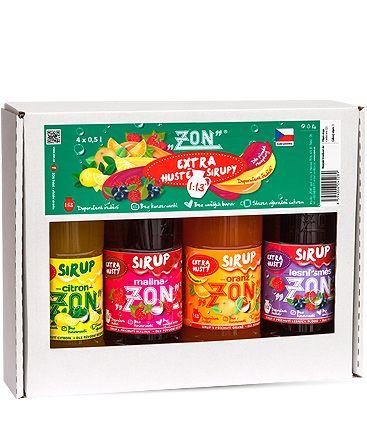 ZON - Extra silný sirup - balení 4 druhy á 0,5 l (Malina +Oranž +Citron +Lesní směs). Doporučené ředění 1:13. ZON Třebíč s.r.o