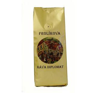 Frolíková káva Diplomat 500g zrnková Jedná sa 100% Arabicu zo Strednej, Južnej Ameriky a Ázie. Jan Frolík - Pražírna kávy